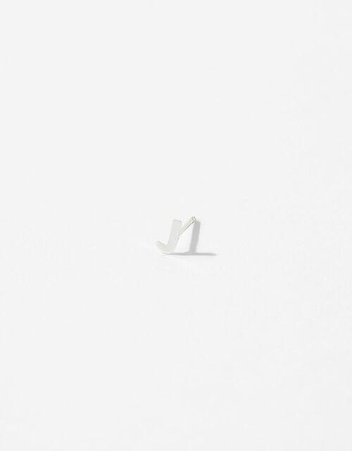Sterling Silver Initial Stud Earrings - J, , large