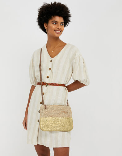 Sarah Metallic Rope Cross-Body Bag, , large