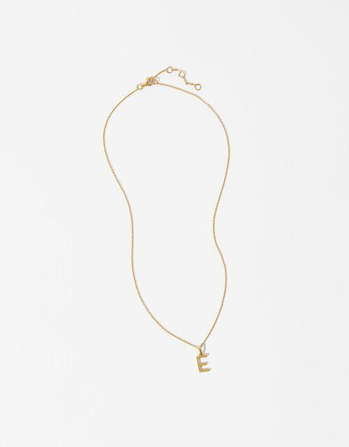 Gold Vermeil Initial Pendant Necklace - E, , large