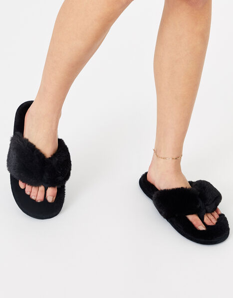 Laura Fluffy Thong Slippers Black, Black (BLACK), large