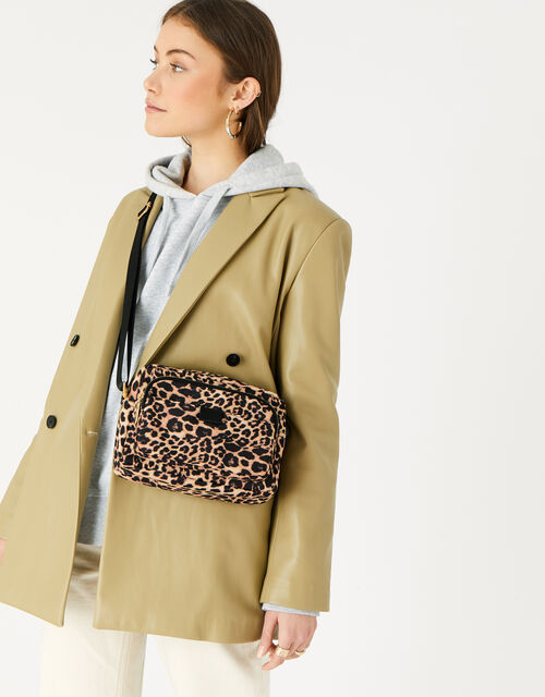Megan Large Nylon Cross-Body Bag , Leopard (LEOPARD), large