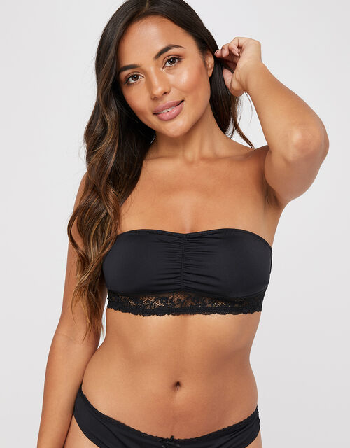 Lace Bandeau Bra, Black (BLACK), large