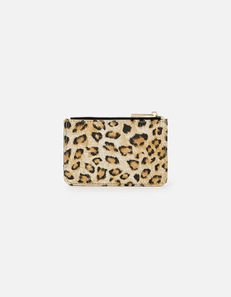 Leopard Metallic Card Holder, , large