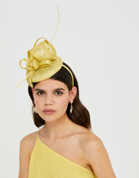Loops and Quill Pill Box Fascinator Headband Yellow, Yellow (YELLOW), large