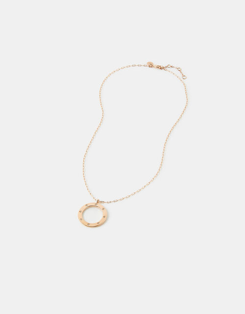 Gold-Plated Sparkle Star Circle Necklace, , large