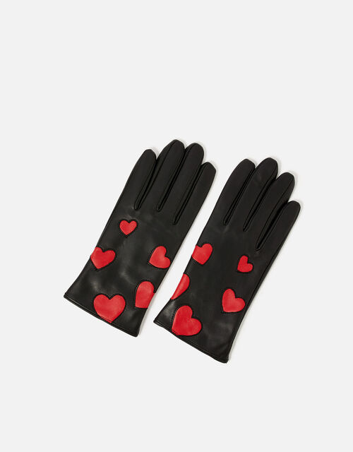 Love Heart Leather Gloves, Black (BLACK), large