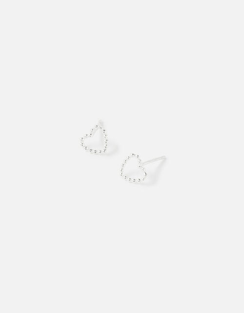 Sterling Silver Cut-Out Heart Studs, , large