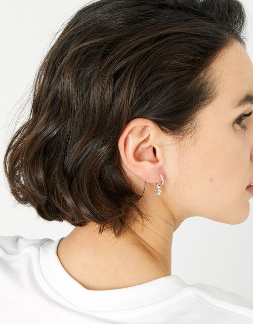 Sterling Silver Star Cartilage Hoop Earrings, , large
