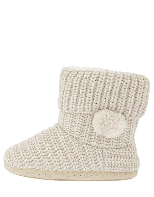 Pom-Pom Shimmer Knit Slipper Boots, Cream (CREAM), large