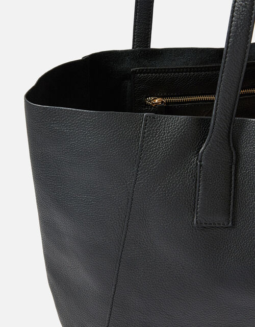 Melinda Large Leather Shopper, Black (BLACK), large