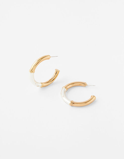 Two-Tone Hoop Earring with Recycled Metal, , large