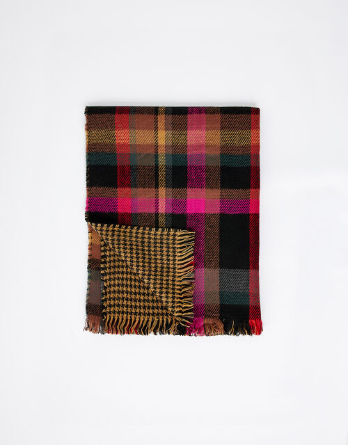 Joanna Check Knit Blanket Scarf, , large