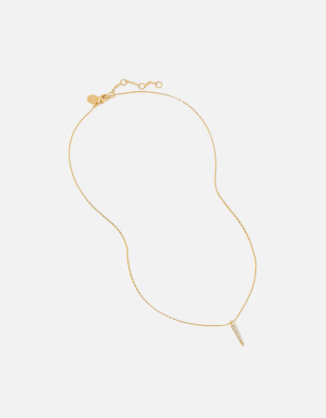 Gold-Plated Spike Pendant Necklace, , large