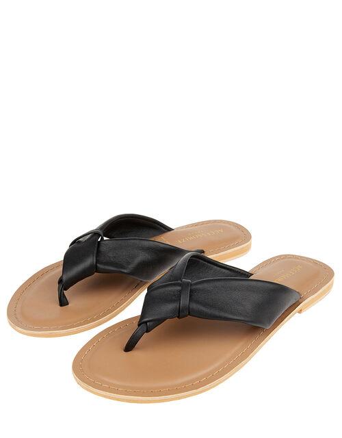 Knotted Thong Sandals, Black (BLACK), large