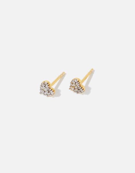 Gold Vermeil Pave Heart Studs, , large