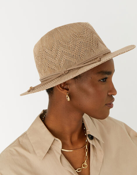 Chevron Packable Fedora Hat Tan, Tan (TAN), large