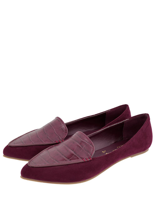 Point Toe Flat Shoes, Red (BURGUNDY), large