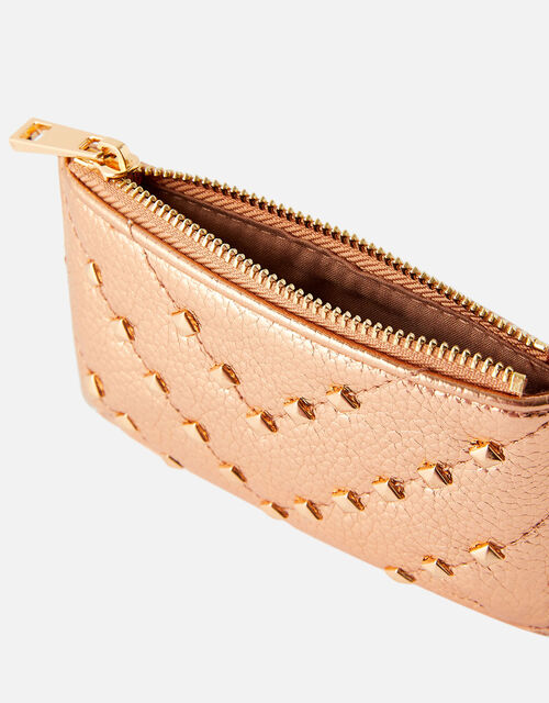 Quilt Studded Card Holder, Gold (ROSE GOLD), large