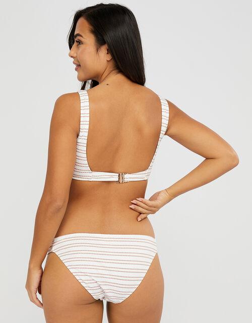 Textured Bikini Briefs with Striped Print, White (WHITE), large