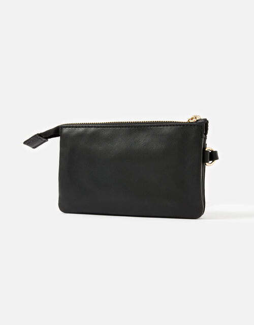 Wristlet Leather Wallet, Black (BLACK), large