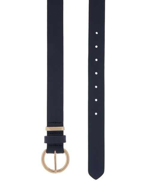 Round Buckle Leather Belt, Blue (NAVY), large