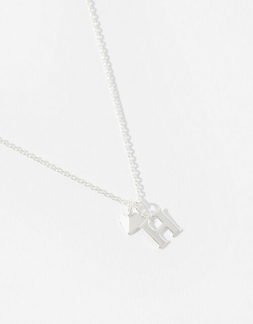 Sterling Silver Heart Initial Necklace - H, , large