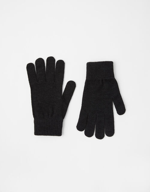 Copper Antibacterial Touchscreen Gloves, Black (BLACK), large