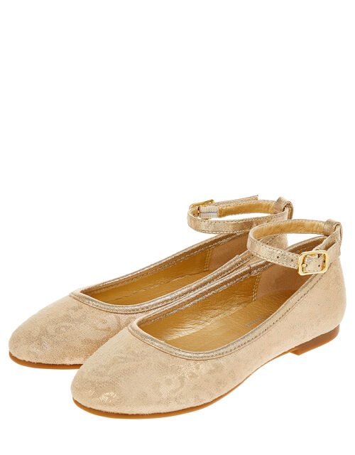 Animal Print Ballet Flats, Gold (GOLD), large