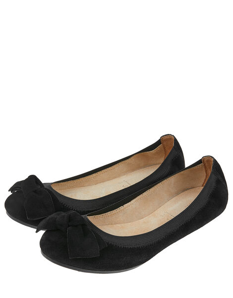 Suede Elasticated Ballerina Flats with Bow Black, Black (BLACK), large