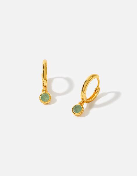 Gold Vermeil Aventurine Hoops, , large