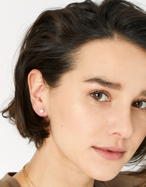 Gold-Plated Round Stud Earrings, , large
