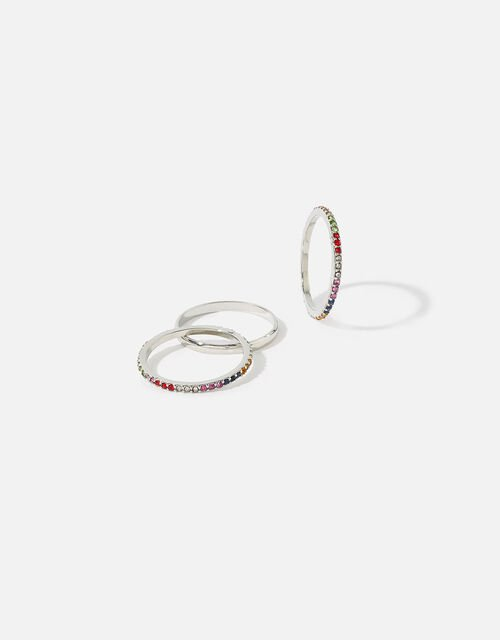 Platinum-Plated Rainbow Rings, Silver (SILVER), large