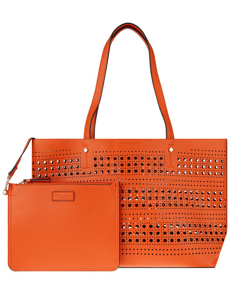Perforated Shopper with Detachable Zip Pouch Orange, Orange (ORANGE), large