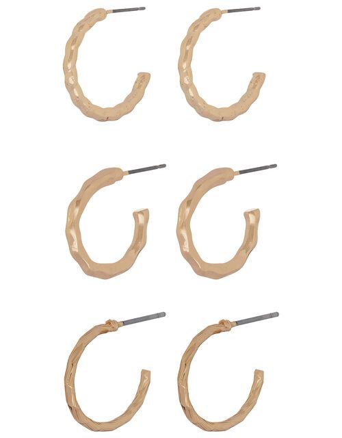 Textured Hoop Earring Set, , large