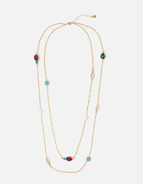 Feel Good Stone Layered Rope Necklace, , large