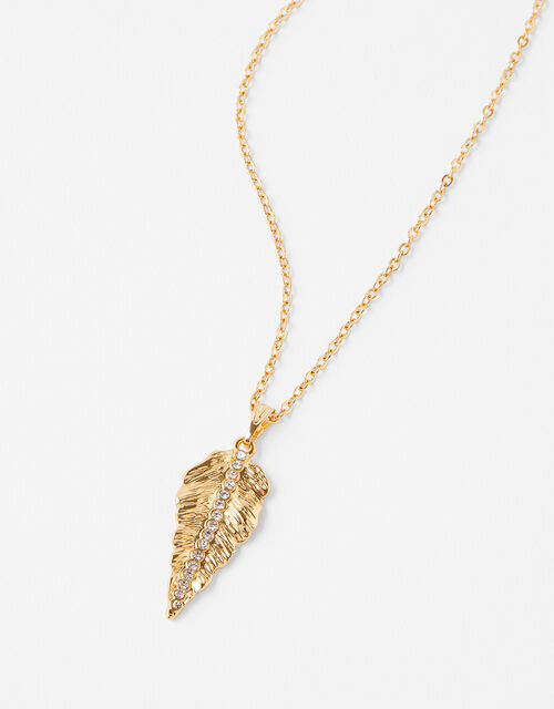 Pave Leaf Necklace with Recycled Metal, , large