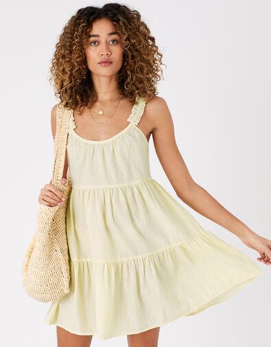 Gingham Mini Dress in Organic Cotton Yellow, Yellow (YELLOW), large