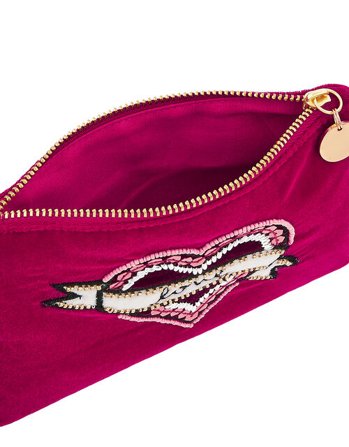 Love Embroidered Velvet Zip Pouch, , large