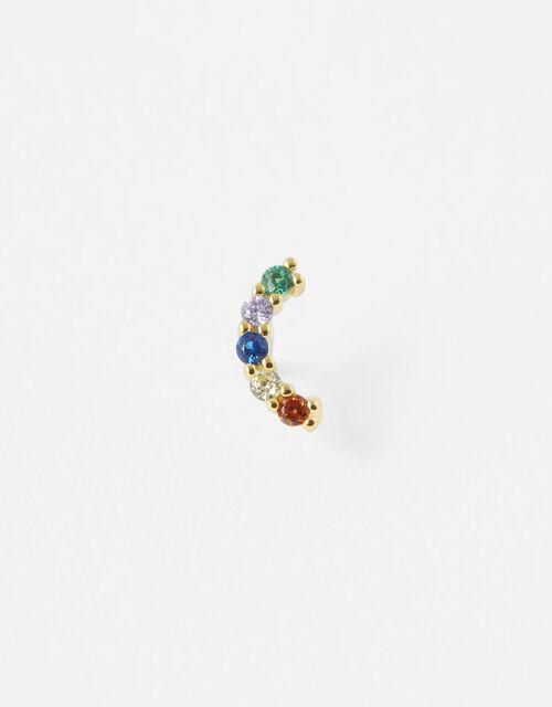 Gold-Plated Single Rainbow Stud Earring, , large