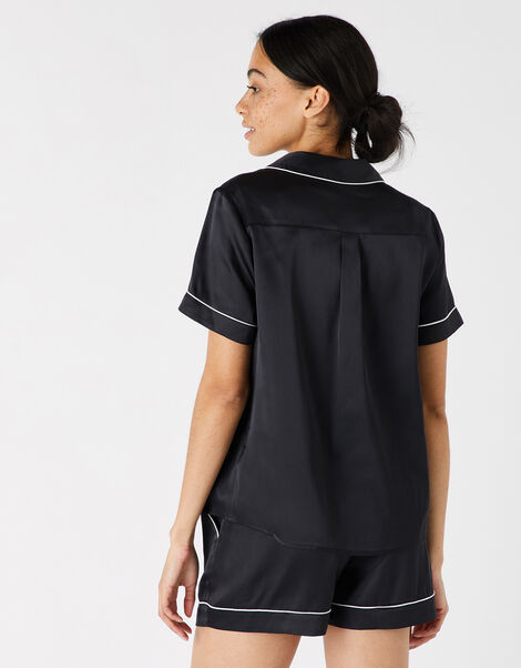 Satin Shirt and Shorts Pyjama Set Black, Black (BLACK), large