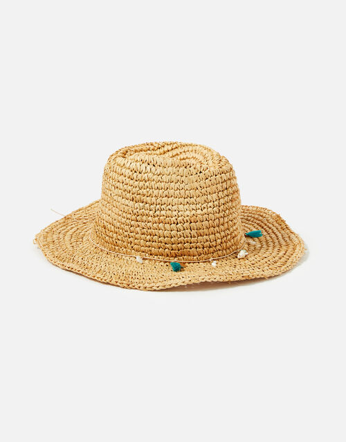 Straw Sun Hat with Shell Trim, Natural (NATURAL), large
