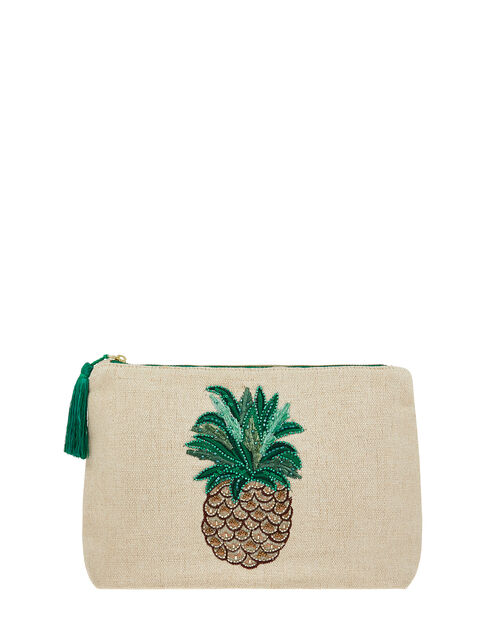 Embellished Pineapple Pouch Bag, , large