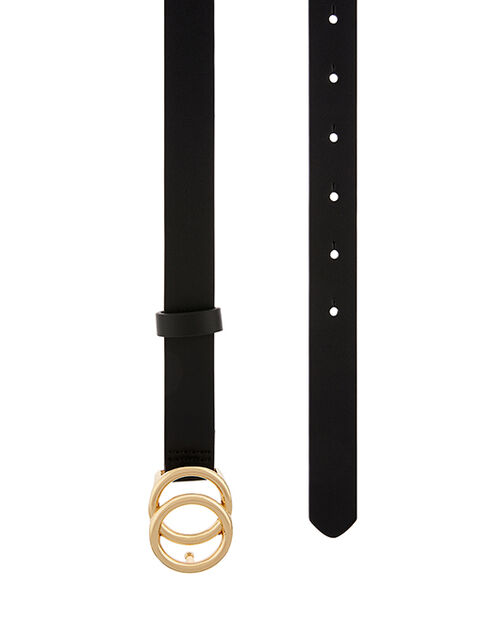 Double Hoop Buckle Belt, Black (BLACK), large