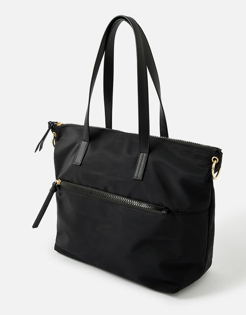 Nadine Nylon Tote Bag, Black (BLACK), large