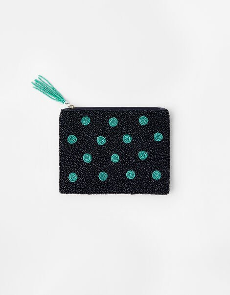 Beaded Spot Pouch Bag Blue, Blue (NAVY), large