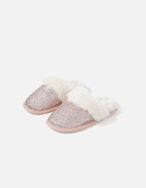 Girls Glitter Mule Slippers  Pink, Pink (PINK), large