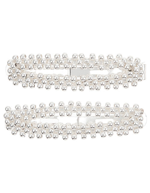 Silver Beaded Snap Hair Clips, , large
