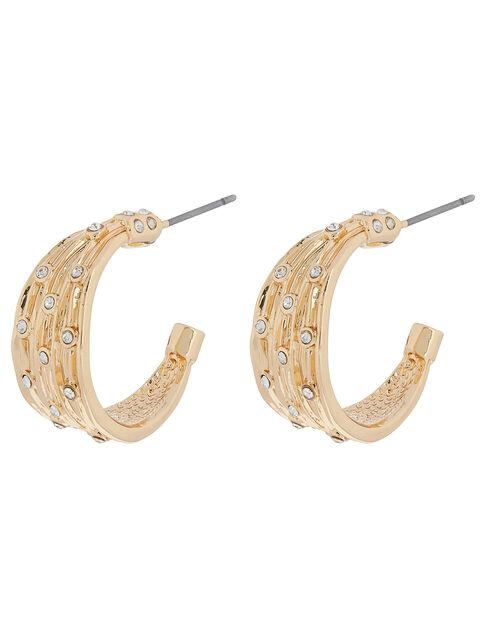 Wide Sparkle Hoop Earrings, , large