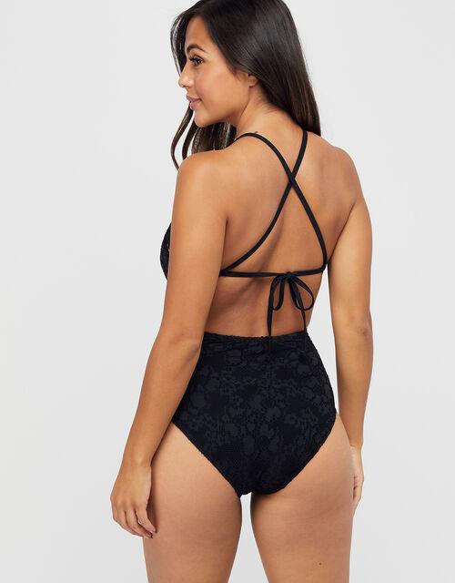 High Neck Lace Swimsuit, Black (BLACK), large