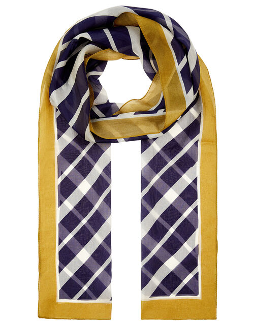 Monochrome Stripe Scarf in Pure Silk, , large
